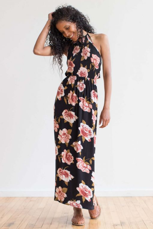 d40f245f2db ... Smocked Floral Halter Maxi Dress. Sale! 1