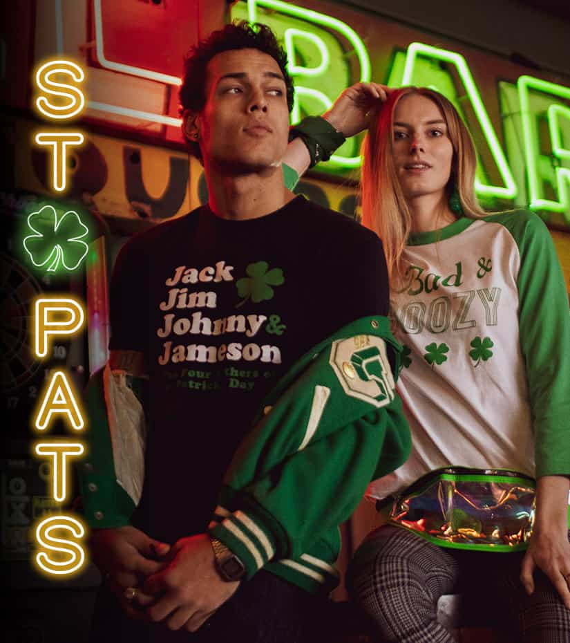 guy and girl wearing st patricks day clothing