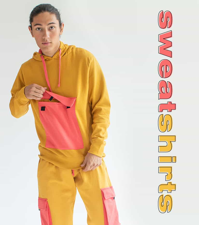 male model wearing a color block cargo sweatshirt and jogger set