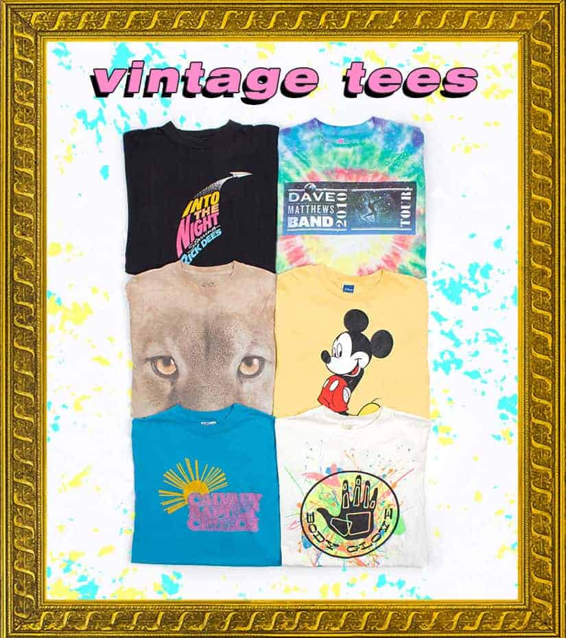 vintage tees in a gold frame