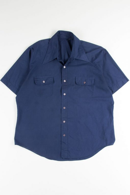 Blue Double Pocket Button Up Shirt