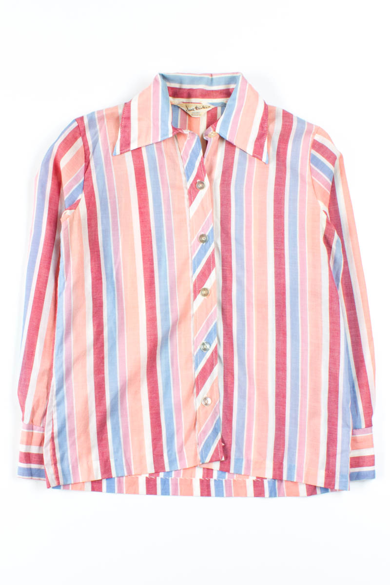 a017340e Red Pastel Striped Button Up Shirt - Ragstock