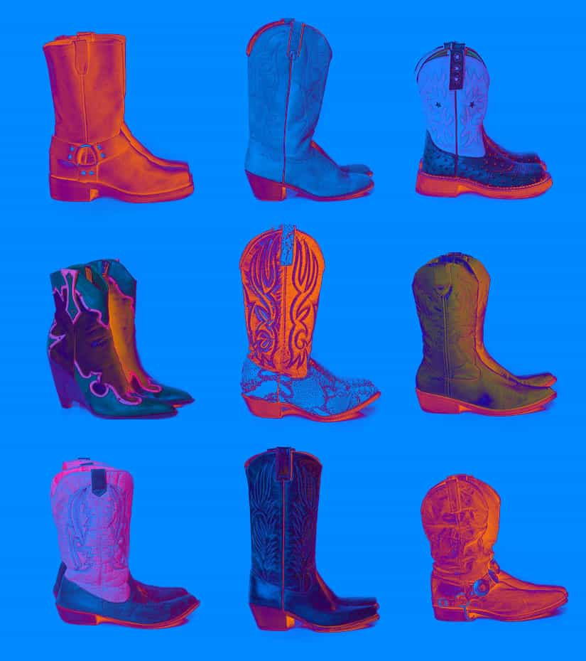 vintage cowboy boots in several styles
