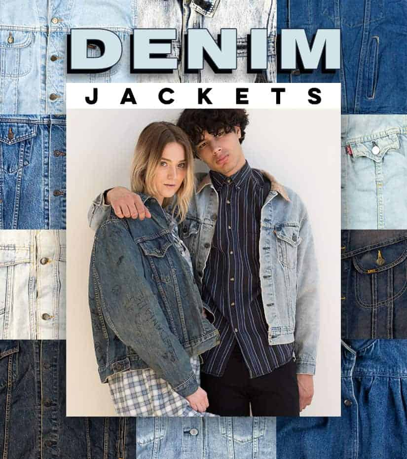 two models wearing vintage and recycled denim jackets with flannels