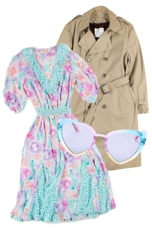 vintage floral dress with trench coat and sunglasses