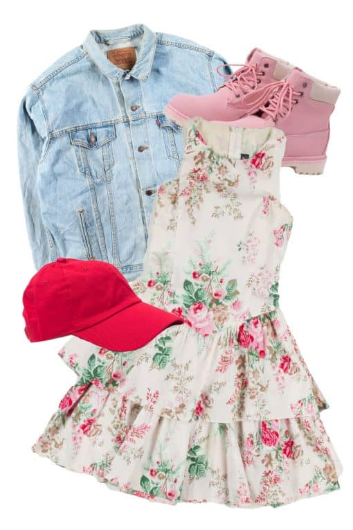 short floral dress with denim jacket and red hat