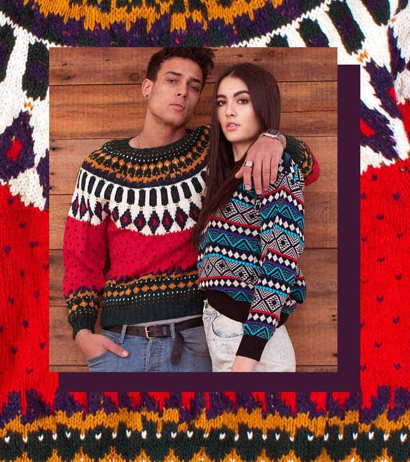 Guy and girl wearing vintage fair isle sweaters