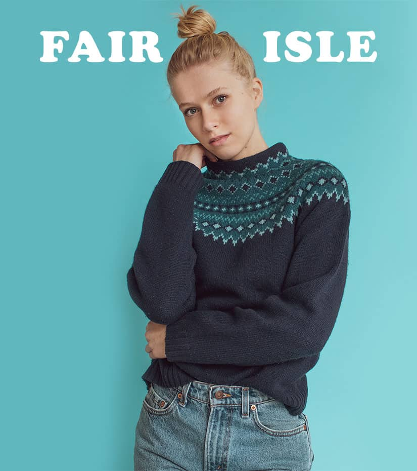 model wearing a vintage fair isle sweater