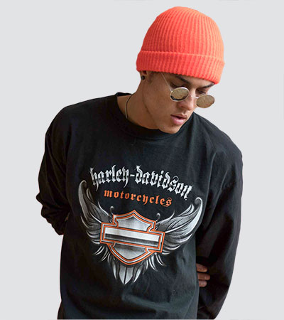 man wearing beanie and vintage harley davidson t-shirt