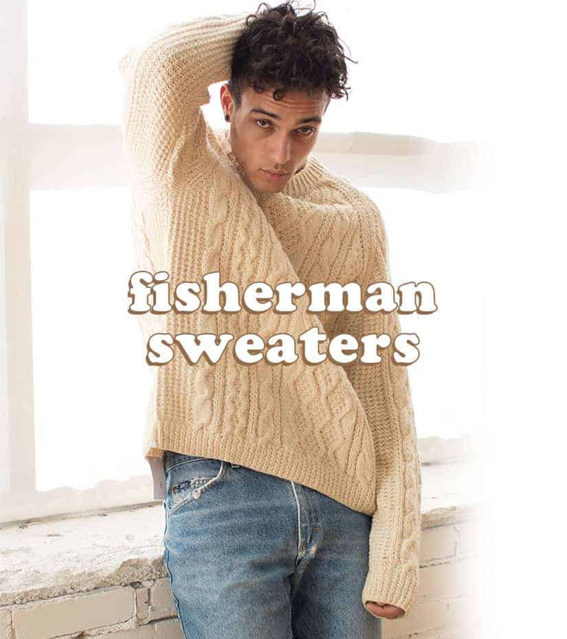 Male wearing vintage fisherman sweater