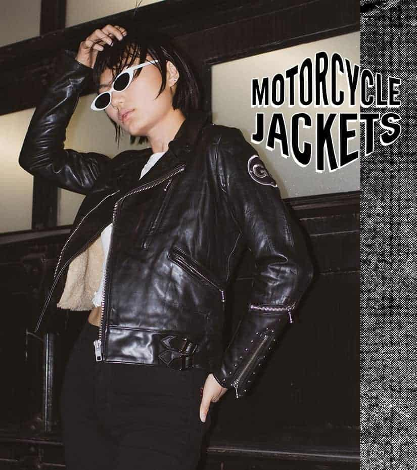 model wearing a vintage motorcycle jacket