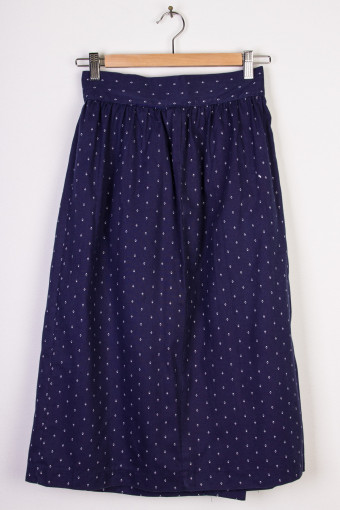 Navy Print Mid-Length Skirt
