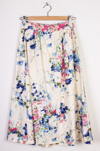 Cream Floral Mid-Length Skirt
