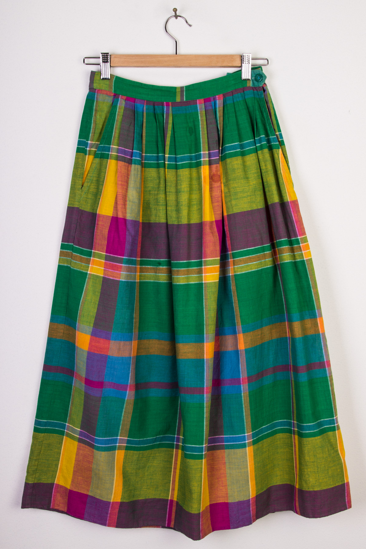 Green Plaid Mid-Length Skirt