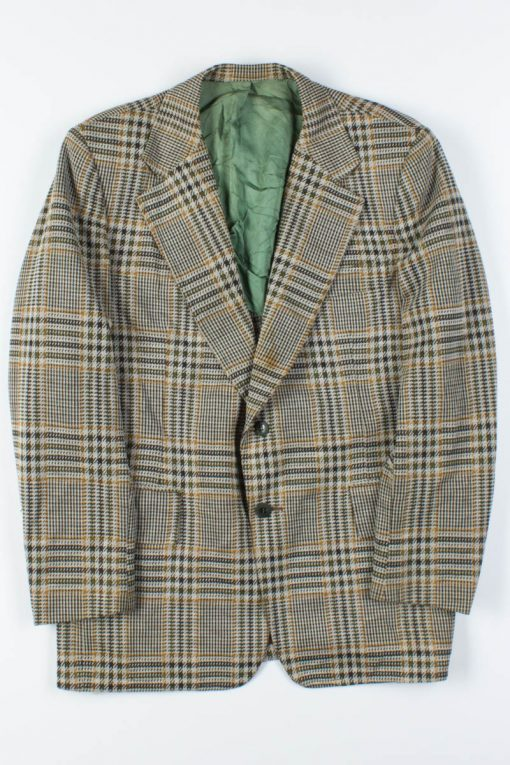 70s Green & Gold Plaid Vintage Blazer