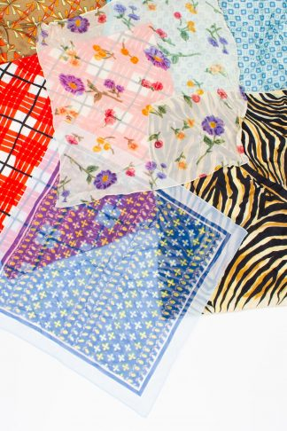 assorted small square vintage scarves