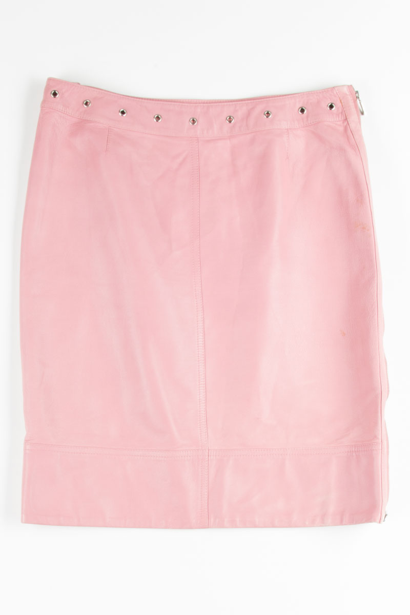 9ee9074c32 ... Clothing / Vintage Skirts / Pink Leather Pencil Skirt. 1