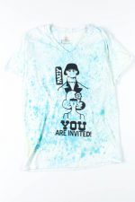 Blue Speckle V-Neck Party Invitation Tie Dye Tee