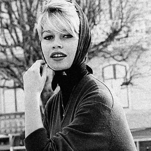 Brigitte Bardot wearing a vintage top and a head scarf