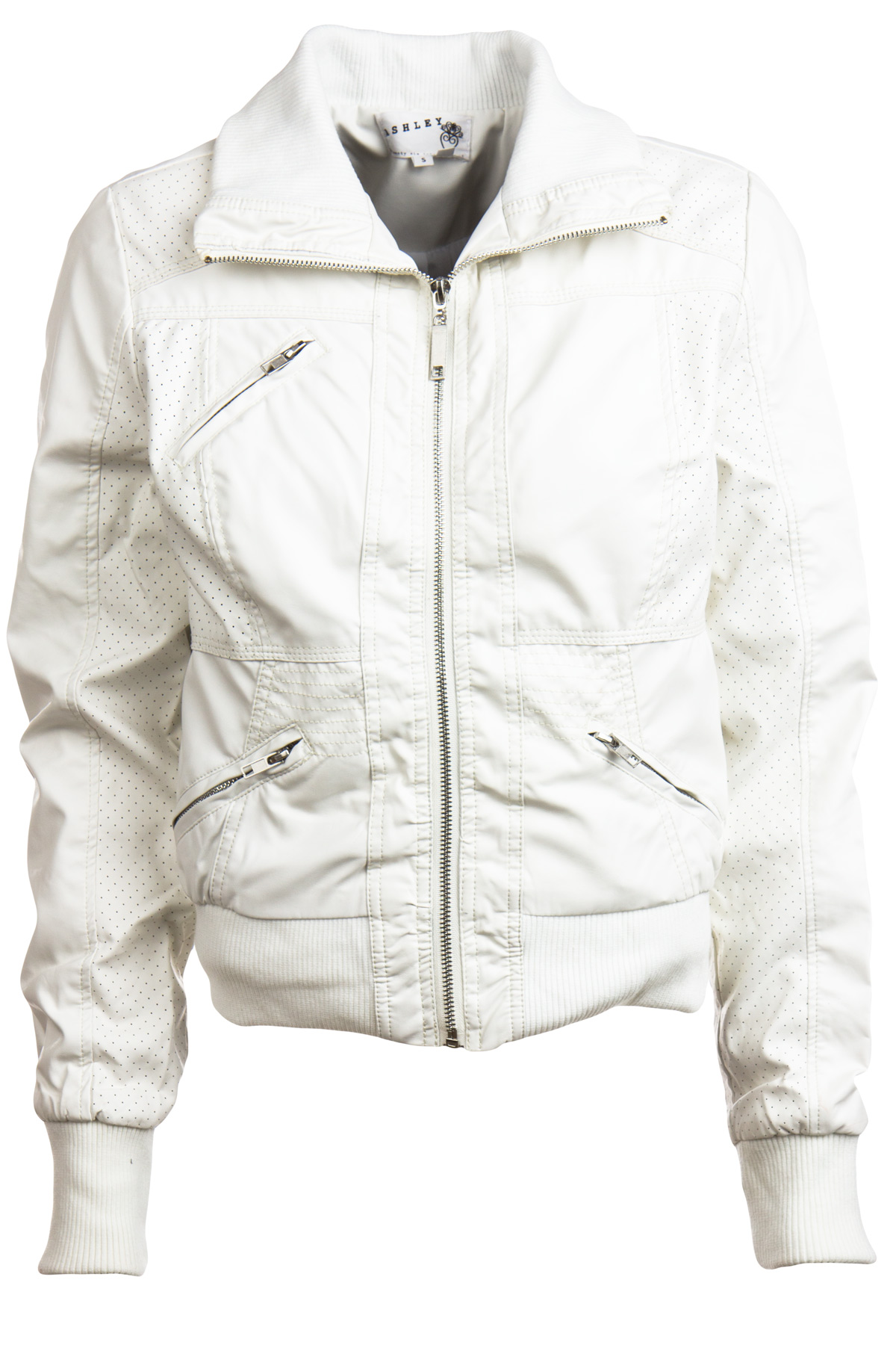 white perforated faux leather moto jacket