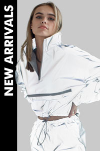 woman wearing reflective windbreaker