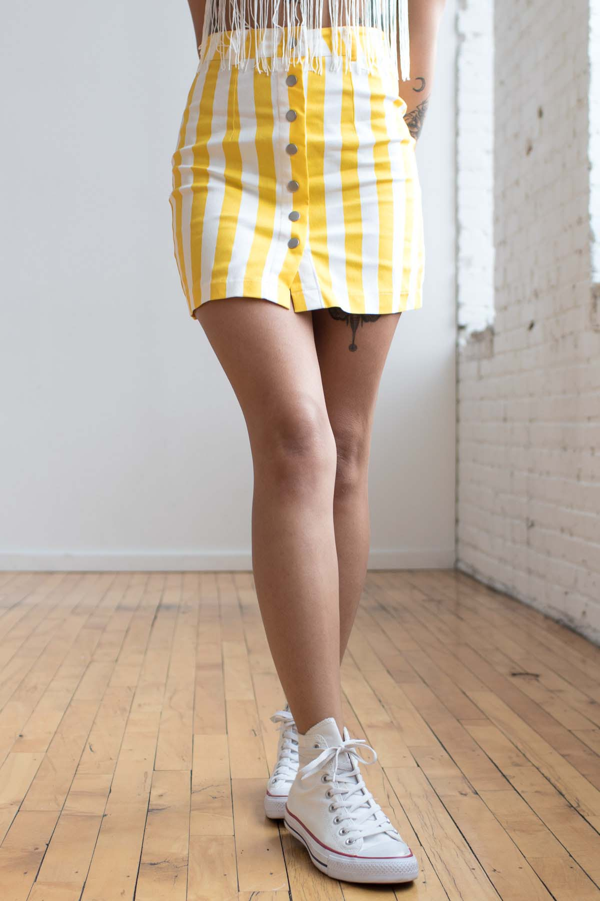 Yellow Circus Striped Button Front Skirt